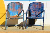 picture of bohemian  - Rustic pair of outdoor patio chairs with a bohemian style - JPG