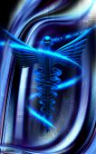 pic of sceptre  - Digital illustration of a medical in blue color background - JPG