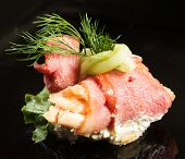 picture of canapes  - canape with meat - JPG