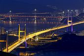 stock photo of tsing ma bridge  - tsing ma bridge at night - JPG