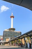 Kyoto, Japan - Oct 30: Kyoto Tower And Kyoto Tower Hotel Viewed From Kyoto Station Bus Terminal On 3