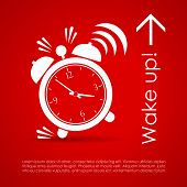 stock photo of aroused  - Wake up vector poster with alarm clock - JPG