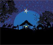 foto of bethlehem  - Biblical scene birth of Jesus in Bethlehem  - JPG