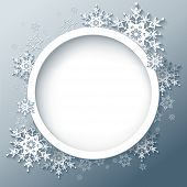 image of snow border  - Winter abstract background with 3d snowflakes - JPG