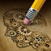 stock photo of pencil eraser  - Brain function loss mental health concept as a symbol of dementia disease and a losing intelligence and memories as alzheimers as a medical an icon of neurology and thinking problems with a pencil erasing a human head made of gears and cogs - JPG