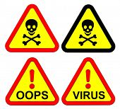 Warning signs set isolated on white. Computer generated 3D photo rendering.