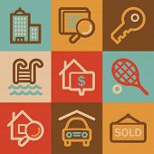 Real estate web icons, vintage series
