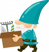 picture of dwarf  - Illustration of a Gnome Carrying a Box of Gardening Tools - JPG