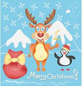 Merry Christmas Greeting Card With Deer And Penguin Cute Cartoon Characters With Snowflakes And Pres