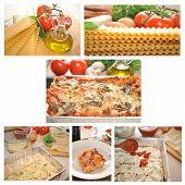 stock photo of lasagna  - A collage of lasagna - JPG