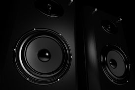 pic of recording studio  - Black stylish powerful high end stereo speakers - JPG