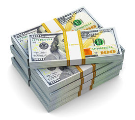 stock photo of 100 dollars dollar bill american paper money cash stack  - Creative abstract business - JPG
