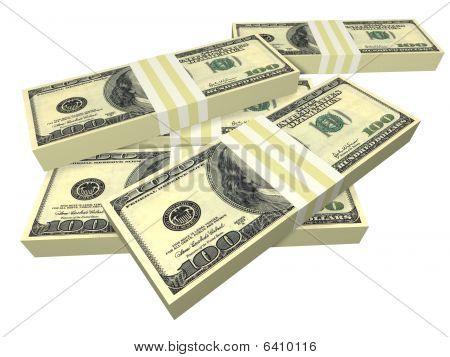 Pack dispersa de notas de dólar isolado