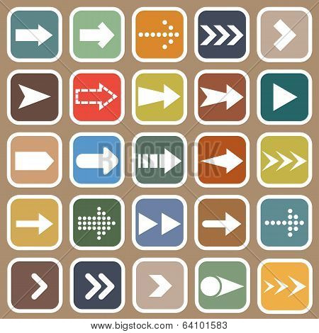 Arrow Flat Icons On Brown Background
