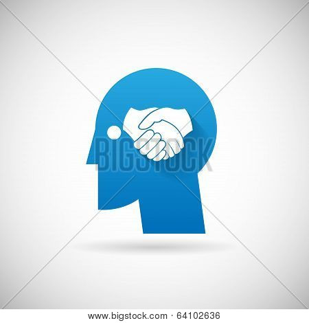 Partnership Symbol Handshake in Head Silhouette  Icon Design Template Vector Illustration