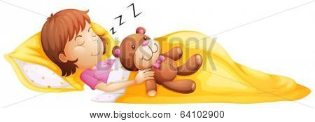 Illustration of a young girl sleeping with her toy on a white background