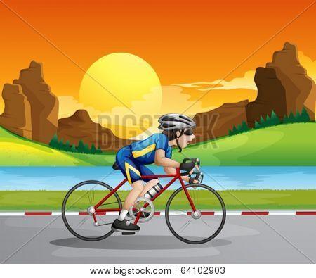 Illustration of a boy biking