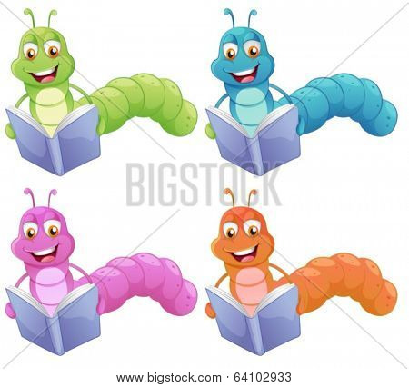 Illustration of the four worms reading on a white background