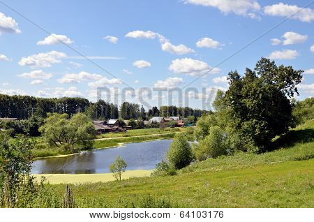 summer landscape with lake in Russia