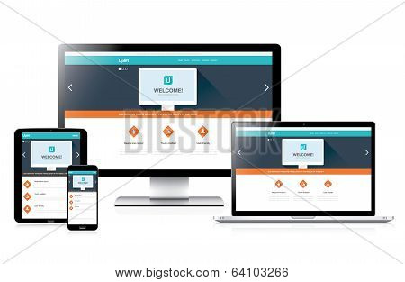 Flat AwFlat fully responsive website web desesome Flat Responsive Web Design In Realistic Devices Ss