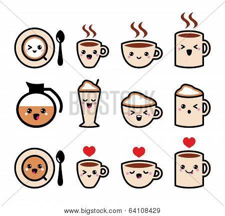 Cute coffee, cappuccino and espresso kawaii icon set - vector
