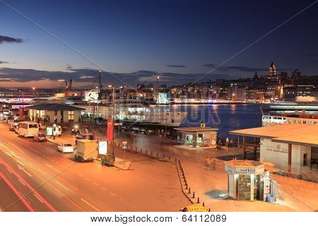ISTANBUL, TURKEY - OCTOBER 20, 2010: Ferry boat quay in the Golden Horn bay in evening. Ferry is fastest and cheapest way to traverse Bosporus strait