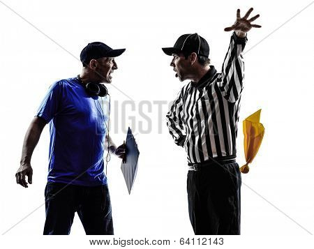 american football referee and coach conflict dispute conflict dispute in silhouettes on white background