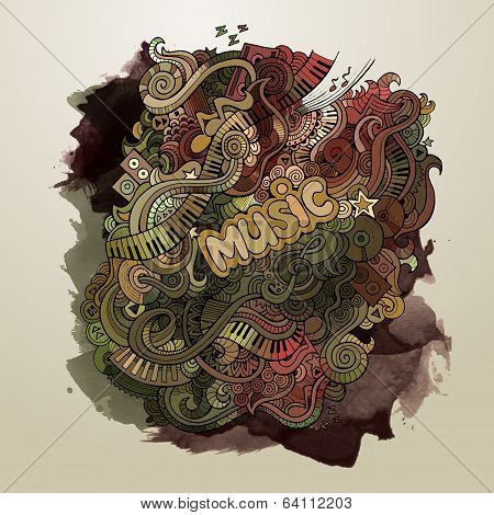 Vector doodles musical art paint background