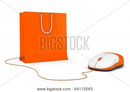 Online Shopping Concept. Shopping Bag And Computer Mouse