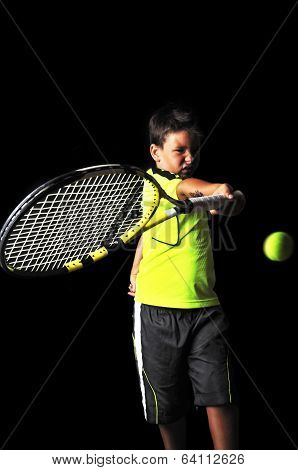 Handsome Boy With Tennis Equipment Playing Forehand