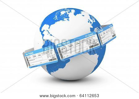 Online Booking Concept. Air Tickets Around Earth Globe