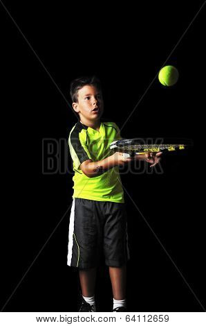 Handsome Boy With Tennis Equipment