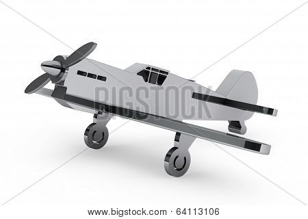 3D Chrome Toy Airplane