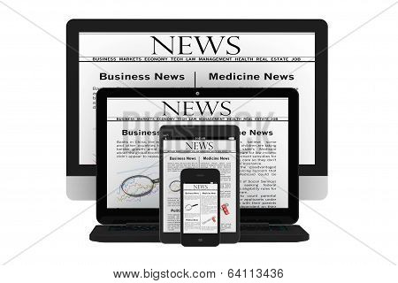 Mobile News Concept. Desktop Computer, Notebook, Tablet Pc And Mobile Phone With News