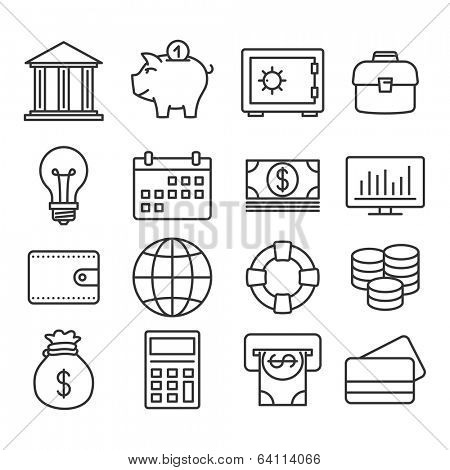 Money, finance, banking icons: vector Line set