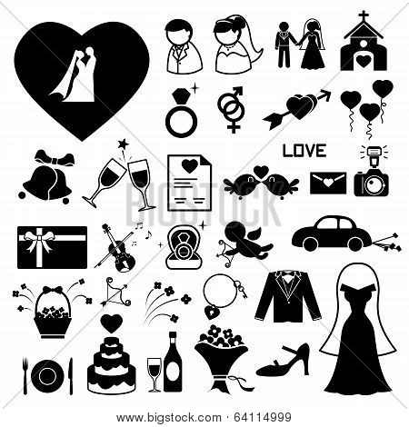 Wedding icons set  illustration eps10