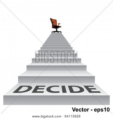 Vector concept conceptual 3d decide stair climbing to a leader,chief or promotion chair on top isolated white background