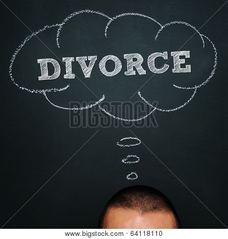 a man over chalkboard with a thought bubble drawn in it and the word divorce