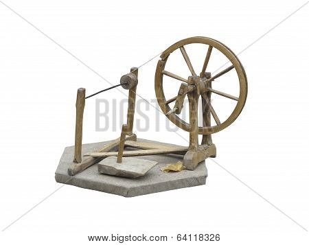 Old Manual Wooden Spinning-wheel Distaff Isolated On White
