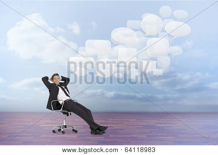 Composite image of manager sitting on swivel chair against clouds in a room