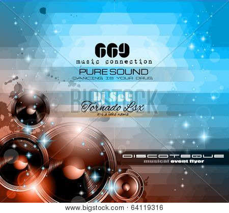 Music Themed background to use for Disco Club Flyers with a lot of abstract design elements, high contrast colors and space for text