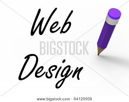Web Design With Pencil Infers Written Plan For Internet Creativi