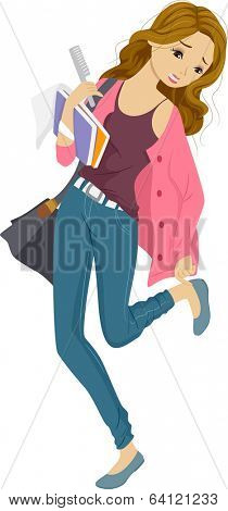 Illustration of a Girl Dressing Frantically to Make it to Class