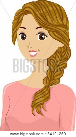 Illustration of a Beautiful Woman Sporting Braided Hair