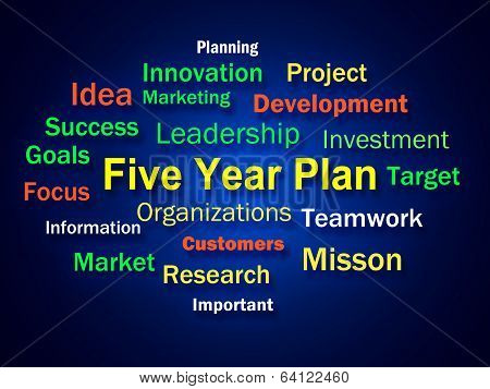 Five Year Plan Brainstorm Means Strategy For Next 5 Years