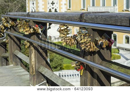 Love Locked On Bridge In Venice