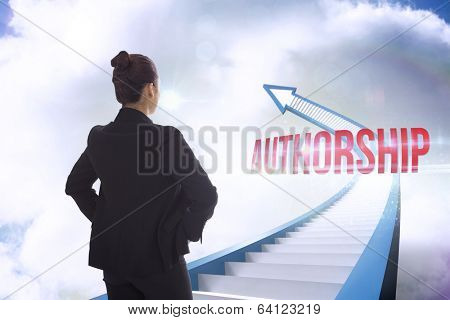 The word authorship and businesswoman with hands on hips against red staircase arrow pointing up against sky