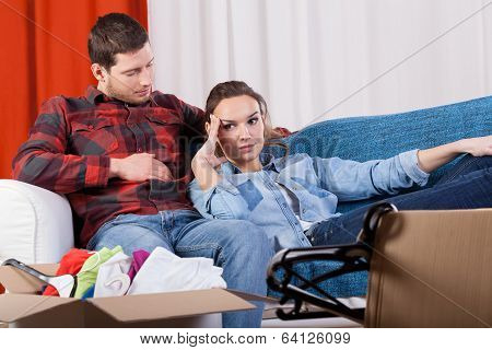 Tired Couple Because Of Moving House