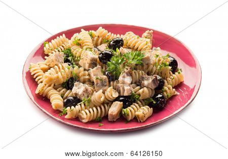 fusilli with swordfish and black olives