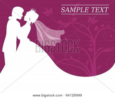 bride and groom on a burgundy background with swirls